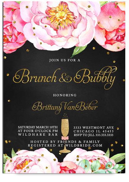 520af7f259e6 Brunch and bubbly chalkboard bridal shower invitations Pink flowers ...