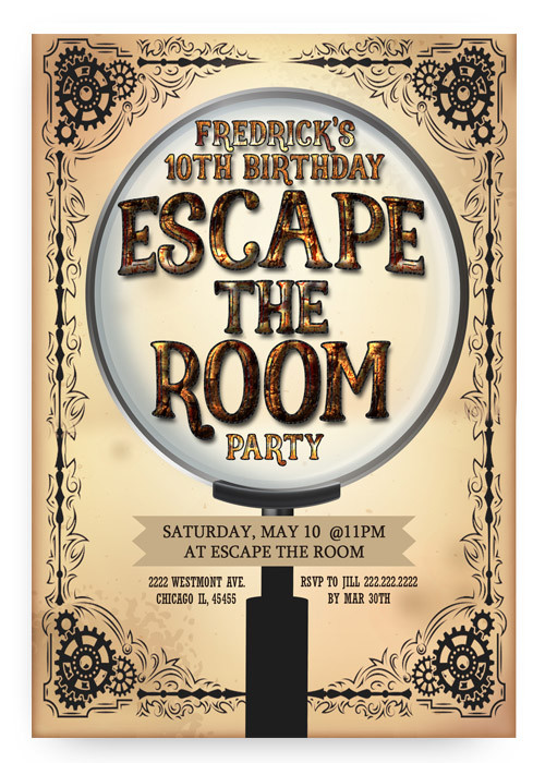 Escape Room Birthday Invitation