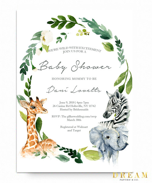 ac135fdcaf7 Jungle baby shower invitation