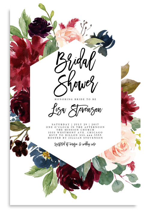 bridal shower invitation  burgundy and pink flowers  24