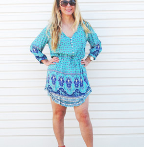 BELLA LOLA TUNIC/DRESS- TURQUOISE