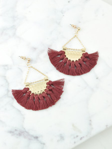 FAN SHAPE EARRINGS-MAROON