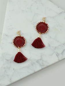 TASSEL EARRINGS - MAROON