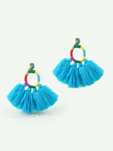 HOOP TASSEL EARRINGS - BLUE