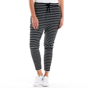 JADE LOUNGE PANTS-BLACK & WHITE STRIPE