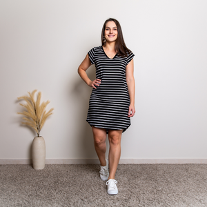 AVA DRESS- BLACK/WHITE STRIPES