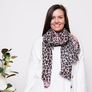 KATE LEOPARD SCARF-PINK