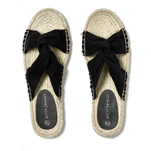 BETTY BASICS COASTAL ESPADRILLE SLIDE -BLACK