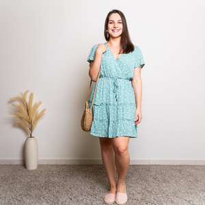 SANDY RUFFLE DRESS - MINT POLKA DOT
