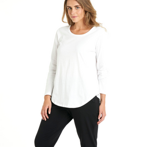 BETTY BASICS MEGAN LONG SLEEVE TOP-WHITE