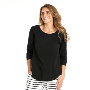 BETTY BASICS MEGAN LONG SLEEVE TOP-BLACK