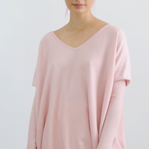 ASHLEY OVERSIZED V NECK KNIT-BLUSH