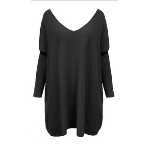 ASHLEY OVERSIZED V NECK KNIT - BLACK