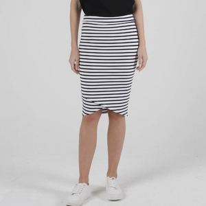 SIRI SKIRT -WHITE/BLACK STRIPE