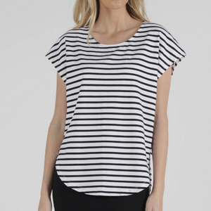 TULIP TOP -WHITE/BLACK STRIPE