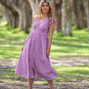 FIREFLY MIDI DRESS - PURPLE