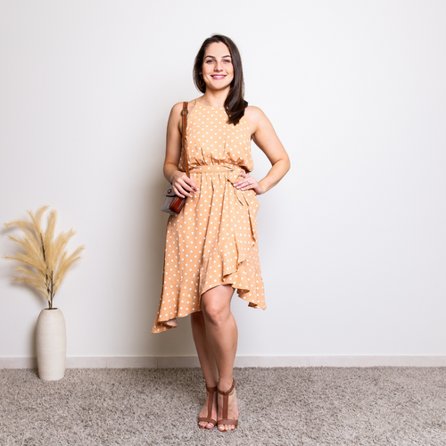 ASHLEIGH POLKA DOT DRESS - TAN