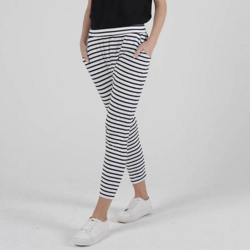 LOLA PANT -WHITE/BLACK STRIPE