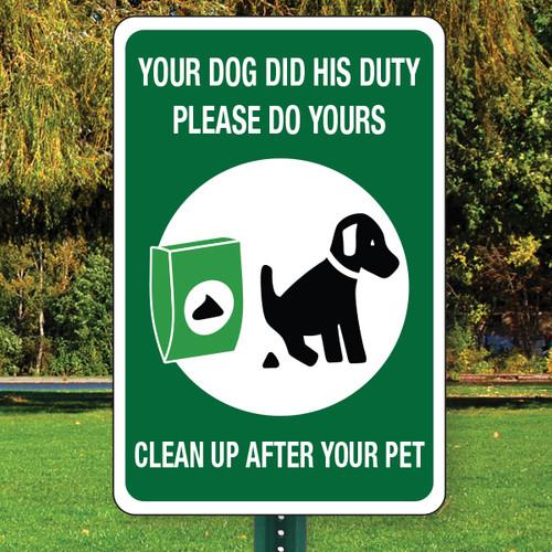 "Clean Up After Your Pet Aluminum Sign - 12"" x 18"""