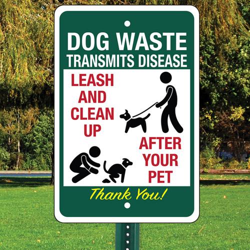 """Dog Waste Transmits Disease Aluminum Sign - 12"""" x 18"""""""