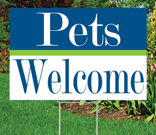 "PETS WELCOME - 12""x 18"" Sign - Cheerful Theme"