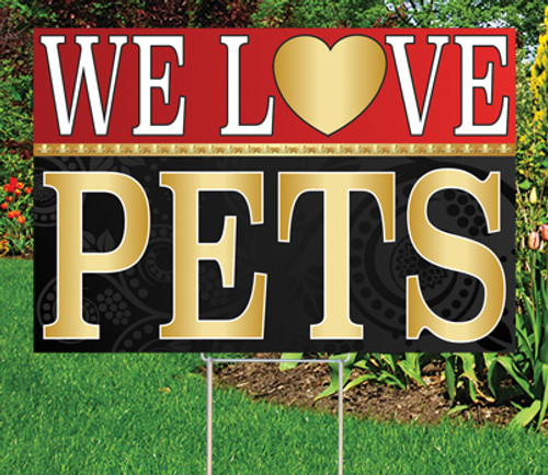 """We Love Pets - 12"""" x 18"""" Sign - Black/Red"""