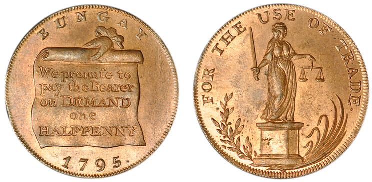 Prentice, Delf, & Abel, Copper Halfpenny, 1795 (D&H Suffolk 21a)