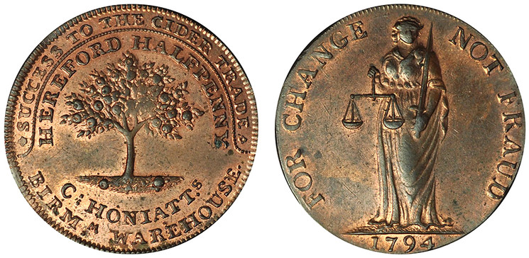 Charles Honiatt, Copper Halfpenny, 1794 (D&H Herefordshire 5b)