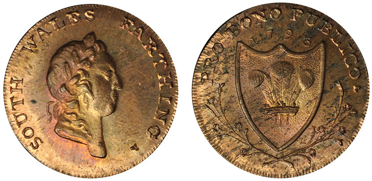 Peter Kempson, South Wales Copper Farthing, 1793 (D&H South Wales 26a)