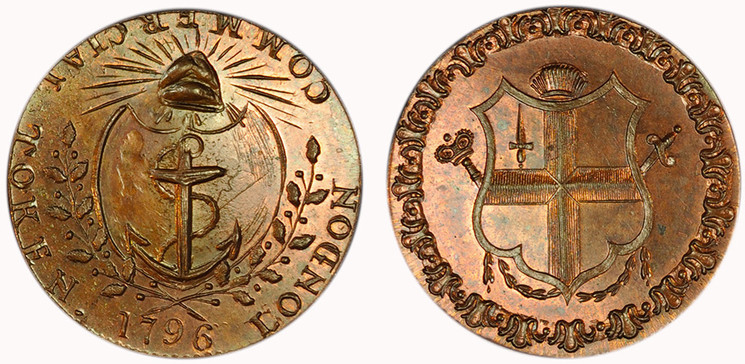 Thomas Prattent, Copper Halfpenny, 1796  (D&H Middlesex 459)