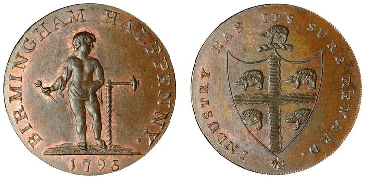 Peter Kempson, Birmingham Halfpenny, 1793  (D&H Warwickshire 50)