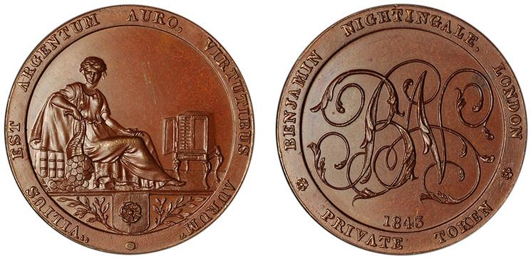 Benjamin Nightingale, Bronzed Copper 1/2d, 1843
