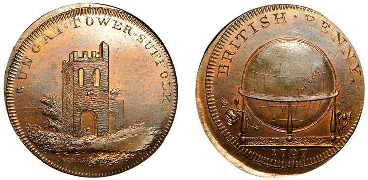 Skidmore's Globe Series, Bungay Tower, 1797 (D&H Middlesex 136) struck 20% off center.
