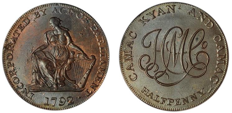 Imitation Camac Kyan and Camac 1/2d, c1792 (D&H Dublin 91)