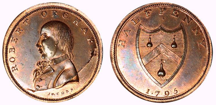 Robert Orchard, Copper 1/2d, 1795 (D&H Middlesex 399)