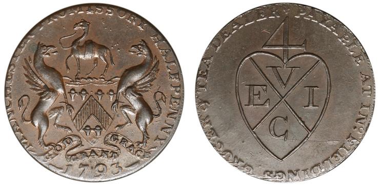 John Fielding, Commercial 1/2d, 1793 (D&H Lancashire 131)