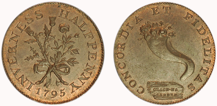 Mackintosh, Inglis & Wilson, Commercial Halfpenny, 1795 (D&H Invernesshire 3)