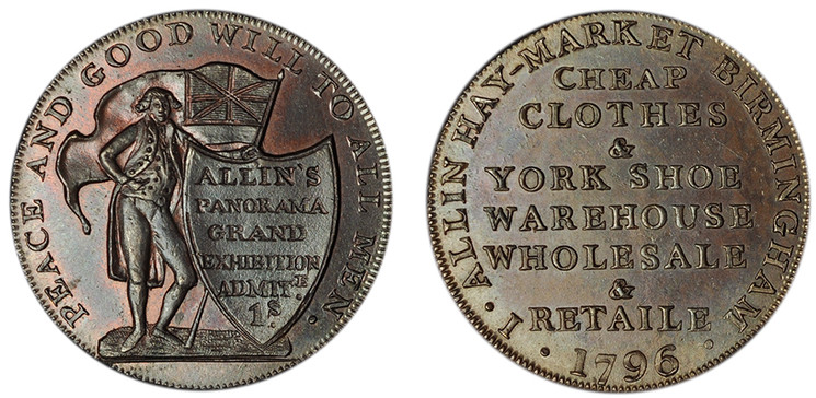 John Allin, Commercial Halfpenny, 1796 (D&H Warwickshire 62)