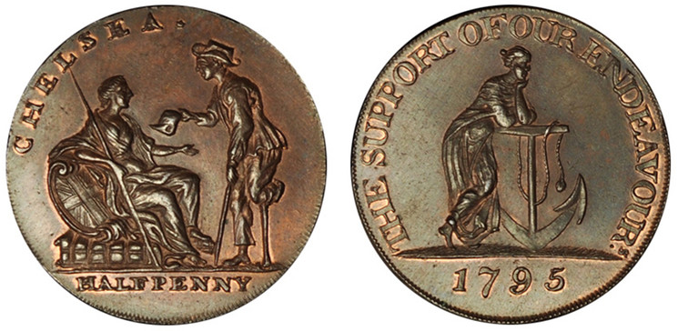 William Lutwyche, Chelsea Copper Halfpenny, 1795 (D&H Middlesex 277)