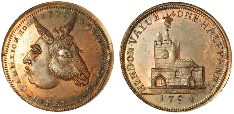 Skidmore & Son, Copper Halfpenny Mule, c1796 (D&H Middlesex 332)