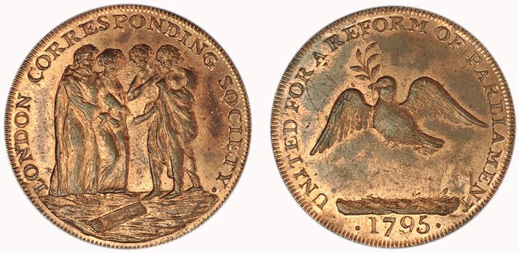 London Corresponding Society, Halfpenny, 1795  (D&H Middlesex 286)