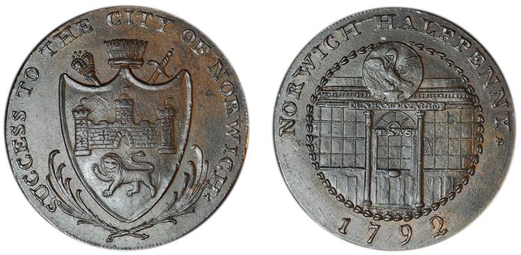 Dunham & Yallop, Copper Halfpenny, 1792 (D&H Norfolk 28a)