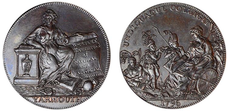 Boulter's Exhibition, Copper Halfpenny, 1796 (D&H Norfolk 54)