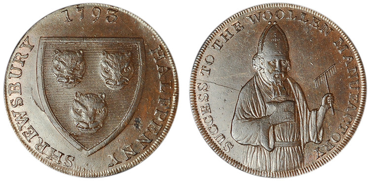 Isaac Wood, Copper Halfpenny Mule, c1793 (D&H Shropshire 23)