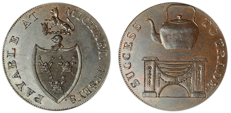 Michael Aspey, Copper Halfpenny (D&H Suffolk 28c)