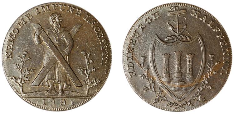 Thomas & Alexander Hutchinson, Copper Halfpenny, 1791 (D&H Lothian 33)