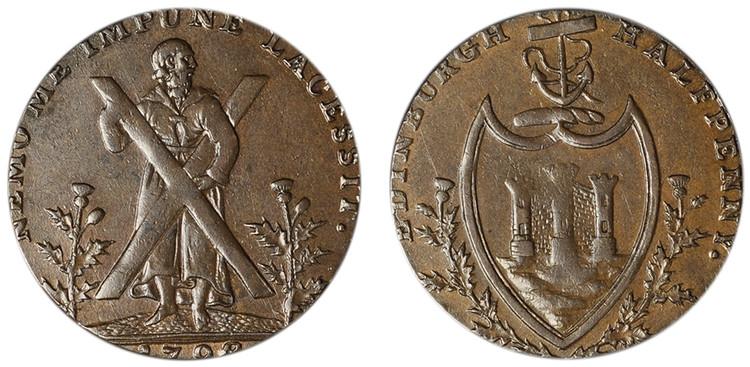 Counterfeit Thomas & Alexander Hutchinson Halfpenny, c1792 (D&H Lothian 47b)
