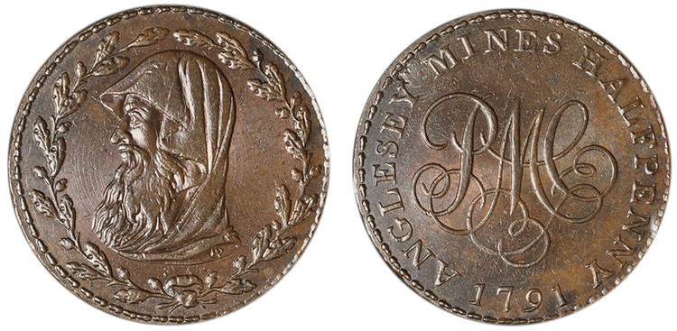 Parys Mine Company, Imitation Anglesey Mines Copper Halfpenny, 1788 ( D&H Anglesey 410a)