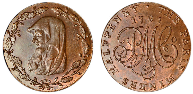 Paris Miners, Copper Halfpenny, c1791 (D&H Anglesey 438b)