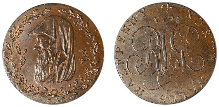 North Wales, Copper Halfpenny, 1793 (D&H North Wales 1d)